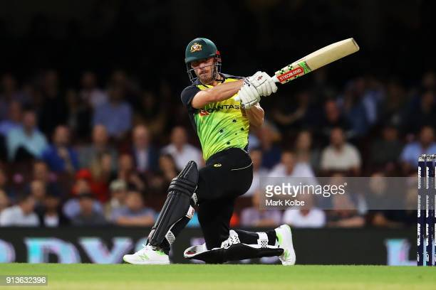 Chris Lynn of Australia bats during game one of the International Twenty20 series between Australia and New Zealand at Sydney Cricket Ground on...