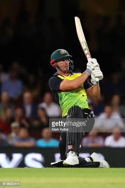 Chris Lynn of Australia bats during game one of the International Twenty20 series between Australia and New Zealand at Sydney Cricket Ground on...