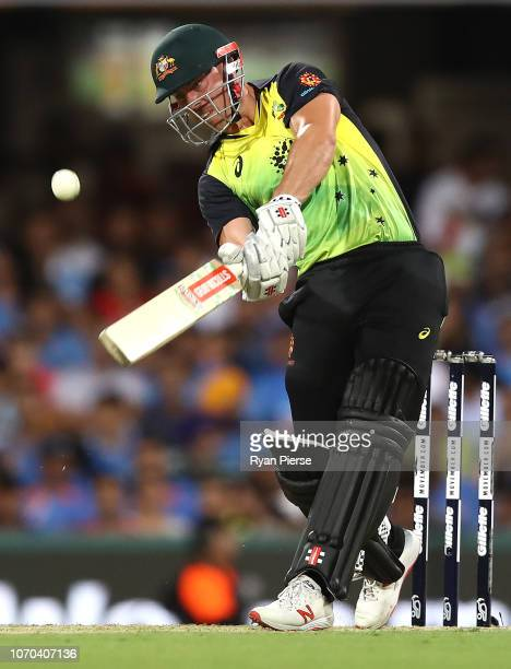 Chris Lynn of Australia bats during game one of the the International Twenty20 series between Australia and India at The Gabba on November 21 2018 in...