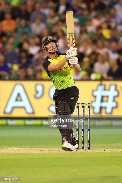 Chris Lynn of Australia bats during game two of the International Twenty20 series between Australia and England at Melbourne Cricket Ground on...
