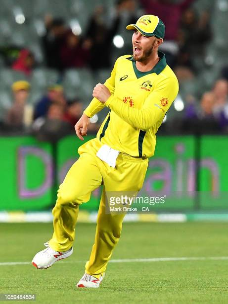 Chris Lynn of Australia celebrates after taking a catch to dismiss Dwaine Pretorius of South Africa off the bowling of Josh Hazlewood of...