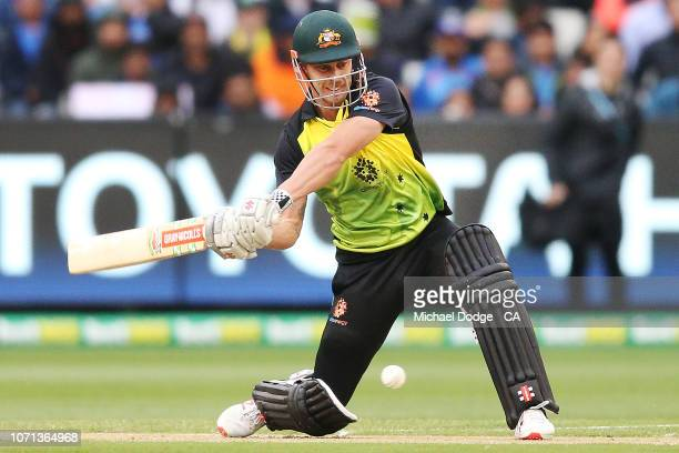 Chris Lynn of Australia is caught from this stroke during the International Twenty20 match between Australia and India at Melbourne Cricket Ground on...