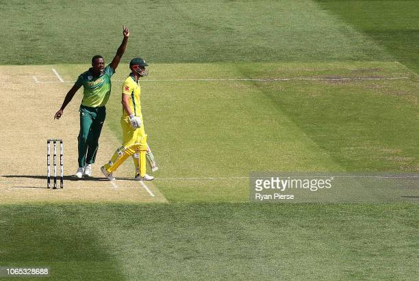 Chris Lynn of Australia looks dejected after being dismissed by Kagiso Rabada of South Africa during game two of the Gillette One Day International...