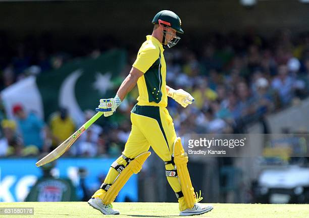 Chris Lynn of Australia looks dejected after losing his wicket during game one of the One Day International series between Australia and Pakistan at...
