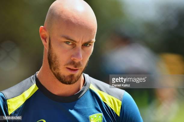 Chris Lynn of Australia looks on during an Australian ODI training session/press conference at Park 25 on November 7 2018 in Adelaide Australia