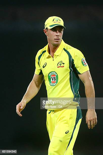 Chris Lynn of Australia looks on during game one of the One Day International series between Australia and Pakistan at The Gabba on January 13 2017...