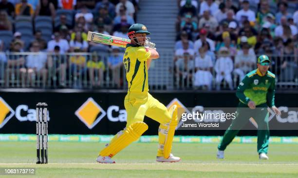 Chris Lynn of Australia plays a shot onto the on side during game one of the One Day International series between Australia and South Africa at Perth...