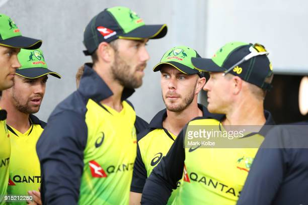 Chris Lynn of Australia watches on as he prepares to take the field with his team mates during the Twenty20 International match between Australia and...