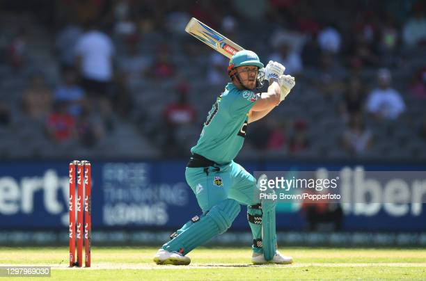 Chris Lynn of Heat hits out during the Big Bash League match between the Melbourne Renegades and the Brisbane Heat at Marvel Stadium, on January 23...