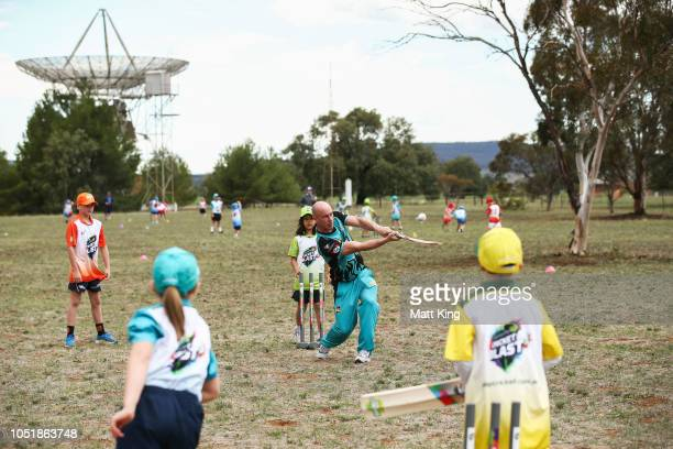 Chris Lynn of the Brisbane Heat hits out during the Cricket Blast Launch at the CSIRO Parkes Observatory on October 11 2018 in Parkes Australia