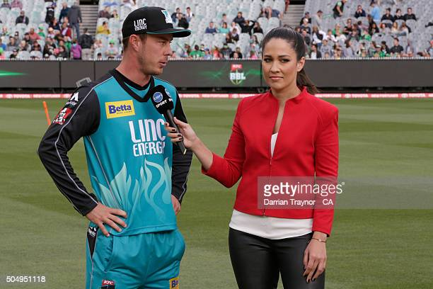 Chris Lynn of the Brisbane Heat is interview by TV presenter Mel Mclaughlin before the Big Bash League match between the Melbourne Stars and the...