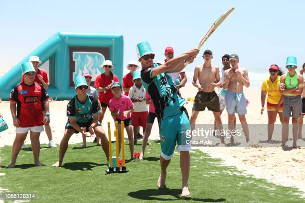 Chris Lynn of the Heat bats during the Big Bash League and KFC Media Event at Main Beach on December 21, 2018 in Gold Coast, Australia.