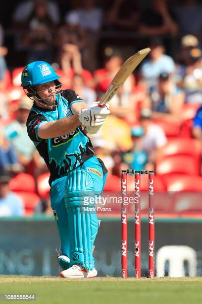 Chris Lynn of the Heat bats during the Big Bash League match between the Brisbane Heat and the Sydney Sixers at Metricon Stadium on January 01 2019...