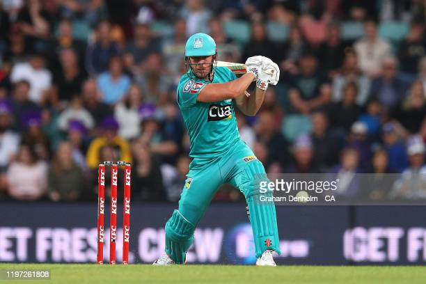 Chris Lynn of the Heat bats during the Big Bash League match between the Hobart Hurricanes and the Brisbane Heat at Blundstone Arena on January 03,...