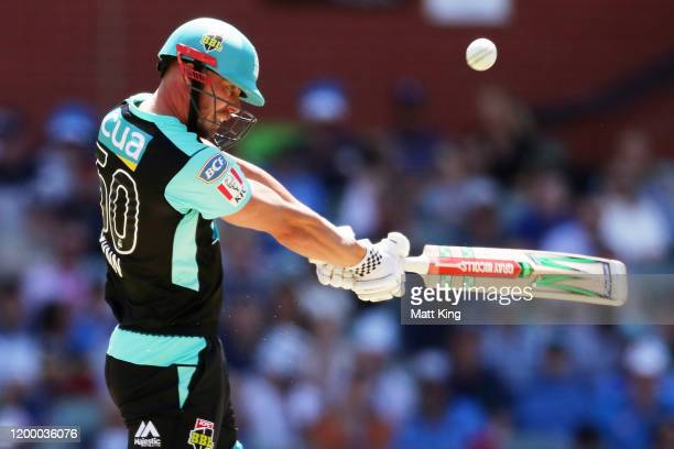 Chris Lynn of the Heat bats during the Big Bash League match between the Adelaide Strikers and the Brisbane Heat at the Adelaide Oval on January 17,...