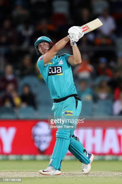 Chris Lynn of the Heat bats during the Big Bash League match between the Sydney Thunder and the Brisbane Heat at Manuka Oval, on December 14 in...