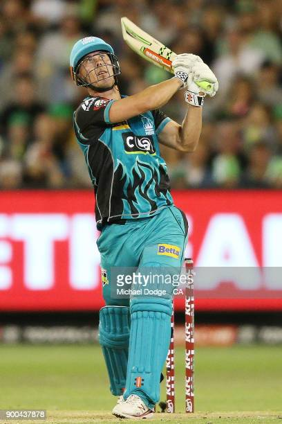 Chris Lynn of the Heat bats during the Big Bash League match between the Melbourne Stars and the Brisbane Heat at Melbourne Cricket Ground on January...