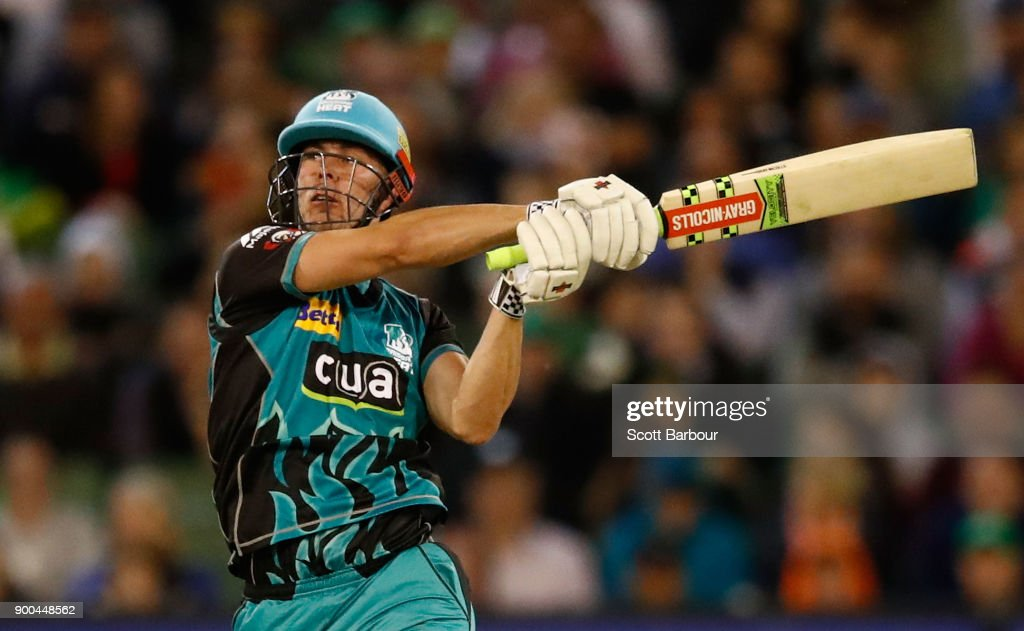 Chris Lynn of the Heat bats during the Big Bash League match between the Melbourne Stars and the Brisbane Heat at Melbourne Cricket Ground on January 2, 2018 in Melbourne, Australia.