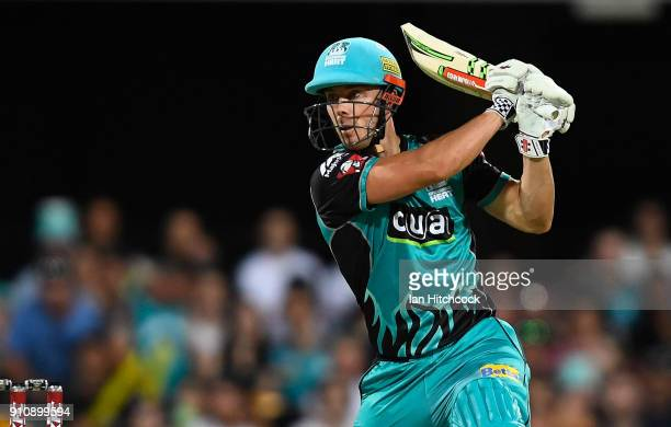 Chris Lynn of the Heat bats during the Big Bash League match between the Brisbane Heat and the Melbourne Renegades at The Gabba on January 27 2018 in...