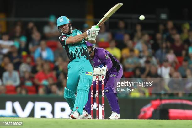 Chris Lynn of the Heat bats during the Brisbane Heat v Hobart Hurricanes Big Bash League Match at Metricon Stadium on December 22, 2018 in Gold...