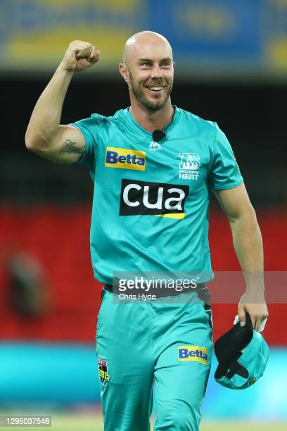 Chris Lynn of the Heat celebrates winning the Big Bash League match between the Brisbane Heat and the Melbourne Stars at Metricon Stadium, on January...