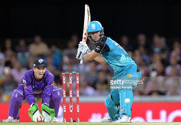 Chris Lynn of the Heat hits a six during the Big Bash League match between the Brisbane Heat and Hobart Hurricanes at The Gabba on December 29 2015...
