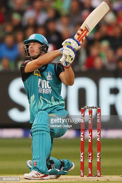 Chris Lynn of the Heat hits a six during the Big Bash League match between the Melbourne Stars and the Brisbane Heat at Melbourne Cricket Ground on...