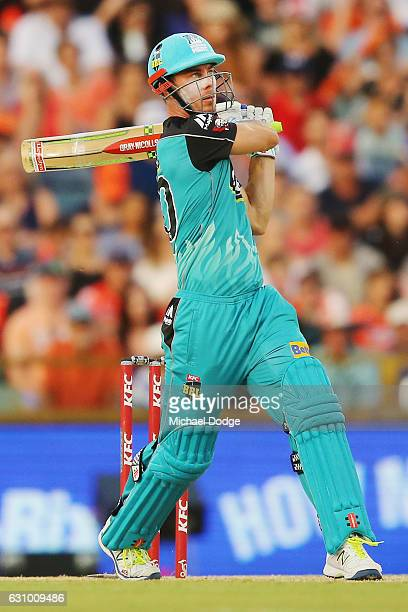 Chris Lynn of the Heat hits a six during the Big Bash League match between the Perth Scorchers and the Brisbane Heat at WACA on January 5 2017 in...
