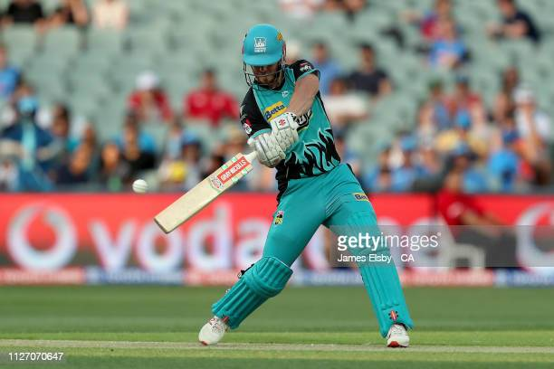 Chris Lynn of the Heat hits out during the Big Bash League match between the Adelaide Strikers and the Brisbane Heat at Adelaide Oval on February 03...