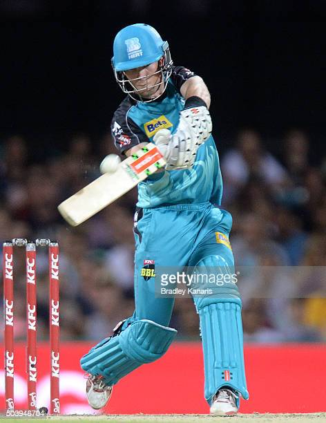 Chris Lynn of the Heat hits the ball over the boundary for a six during the Big Bash League match between the Brisbane Heat and the Adelaide Strikers...