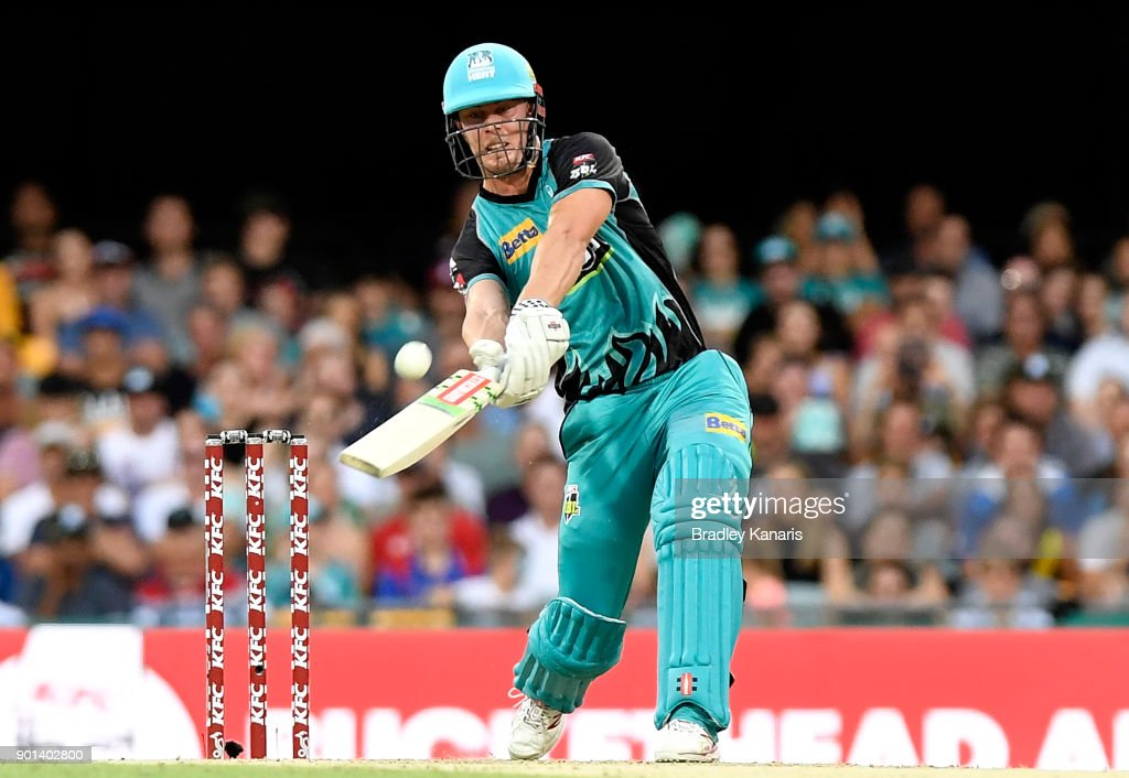 Chris Lynn of the Heat hits the ball over the boundary for a six during the Big Bash League match between the Brisbane Heat and the Perth Scorchers at The Gabba on January 5, 2018 in Brisbane, Australia.