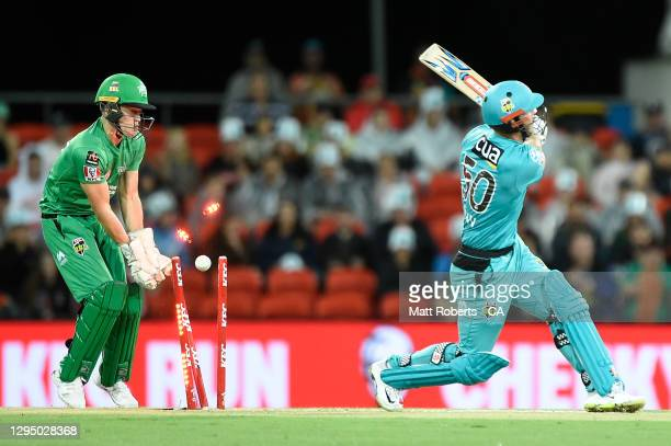 Chris Lynn of the Heat is bowled by Glenn Maxwell of the Stars during the Big Bash League match between the Brisbane Heat and the Melbourne Stars at...