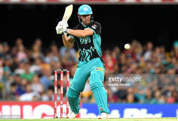 Chris Lynn of the Heat plays a shot during the Big Bash League match between the Brisbane Heat and the Melbourne Renegades at The Gabba on January 10...