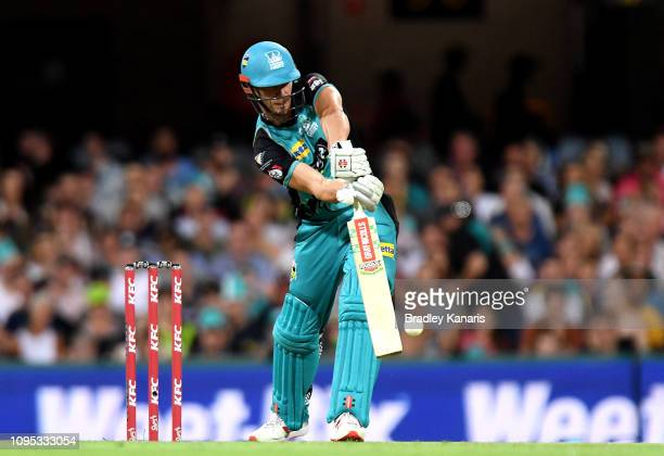 Chris Lynn of the Heat plays a shot during the Big Bash League match between the Brisbane Heat and the Sydney Thunder at The Gabba on January 17 2019...