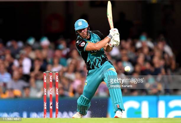 Chris Lynn of the Heat plays a shot during the Big Bash League match between the Brisbane Heat and the Perth Scorchers at The Gabba on February 01...