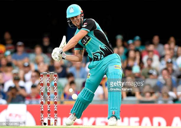 Chris Lynn of the Heat plays a shot during the Big Bash League match between the Brisbane Heat and the Perth Scorchers at The Gabba on January 5 2018...