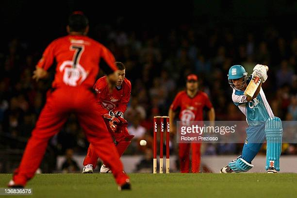 Chris Lynn of the Heat plays a shot during the T20 Big Bash League match between the Melbourne Renegades and the Brisbane Heat at Etihad Stadium on...