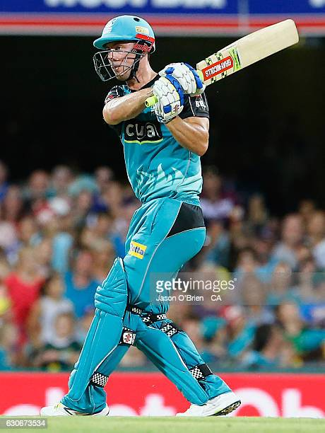 Chris Lynn plays a shot during the Big Bash League between the Brisbane Heat and Hobart Hurricanes at The Gabba on December 30 2016 in Brisbane...