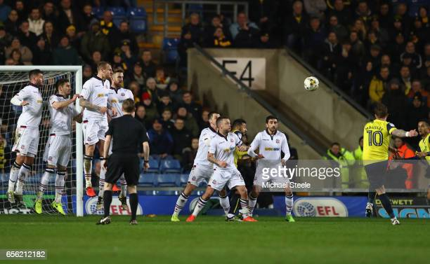 Chris Maguire of Oxford scores his sides second goal from a free kick during the Sky Bet League One match between Oxford United and Bolton Wanderers...