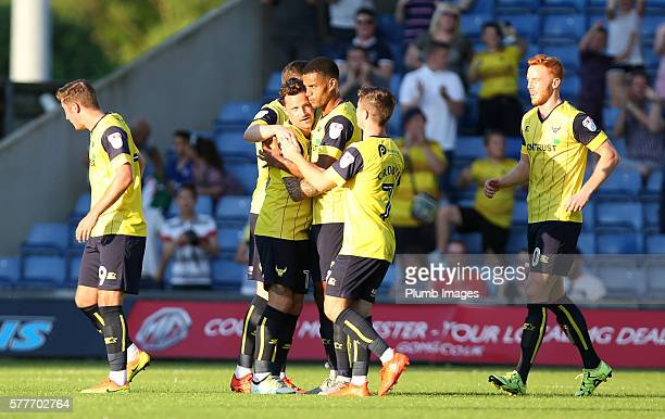 Chris Maguire of Oxford United celebrates after scoring to make it 10 during the pre season friendly between Oxford United and Leicester City at...