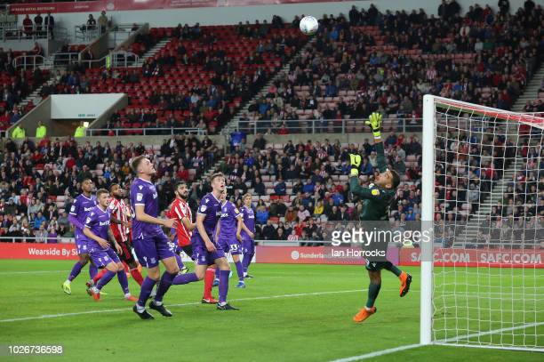 Chris Maguire of Sunderland hits the bar during the Checkatrade Trophy Northern Group A match between Sunderland and Stoke City U21 at Stadium of...