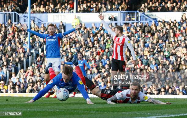 Chris Maguire of Sunderland is brought down and appeals for a penalty during the Sky Bet League One match between Portsmouth and Sunderland at...