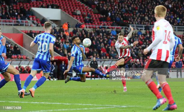 Chris Maguire of Sunderland strikes at goal during the Sky Bet Leauge One match between Sunderland and Blackpool at Stadium of Light on December 14,...