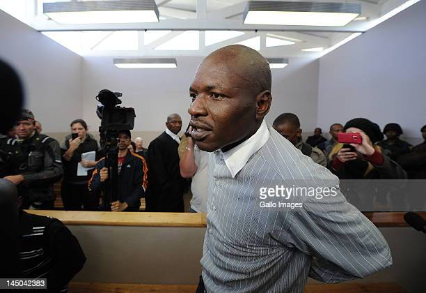 Chris Mahlangu appears on trial at the Ventersdorp magistrates court on May 22 2012 in Ventersdorp South Africa Mahlangu and Patrick Ndlovu are...