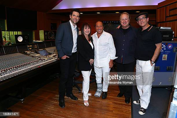 Chris Mann Susan Markheim Producer Joel McNeely Paul Anka and Producer Ron Fair at a Photo Call held at Conway Recording Studios on August 27 2012 in...