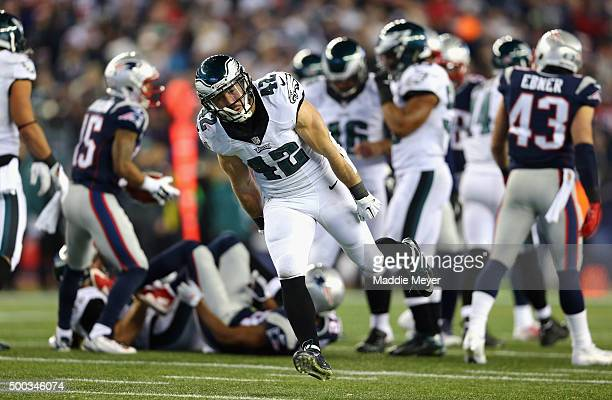 Chris Maragos of the Philadelphia Eagles reacts during the game against the New England Patriots at Gillette Stadium on December 6 2015 in Foxboro...