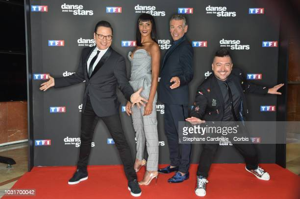 Chris Marques Shy'm Patrick Dupond and JeanMarc Genereux attend the 'Danse Avec Les Stars 2018' Photocall At TF1 on September 11 2018 in Paris France