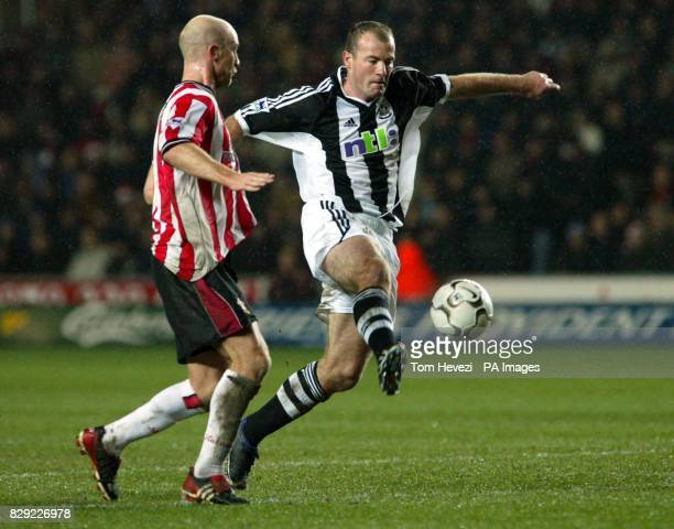 Chris Marsden of Southampton challenges Newcastle's Alan Shearer during their Barclaycard Premiership match at Southampton's St Mary's ground Final...