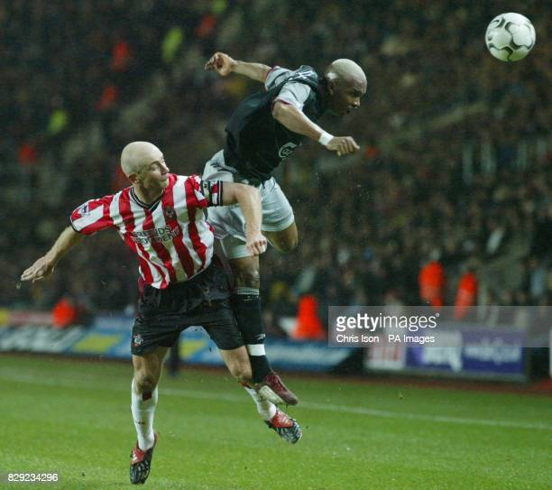 Chris Marsden of Southampton in action against ElHadji Diouf of Liverpool during their Barclaycard Premiership match at the St Mary's ground THIS...