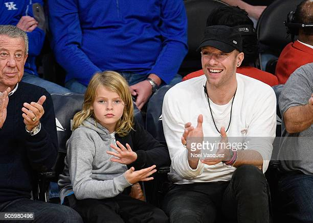 Chris Martin and his son Moses Martin attend a basketball game between the Sacramento Kings and the Los Angeles Kings at Staples Center on January 20...
